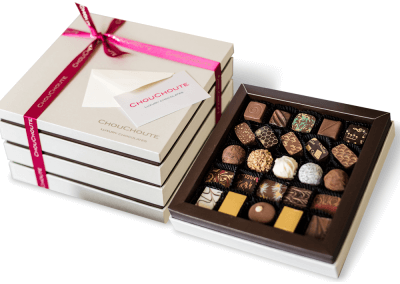 100 chocolate luxury box with printed card
