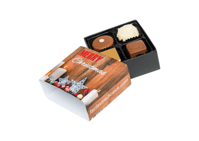 4 chocolates with personalised sleeve