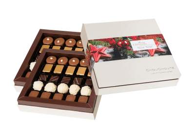 50 chocolate luxury box with printed sleeve