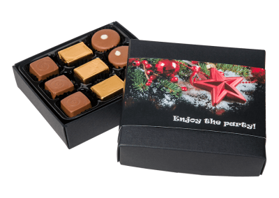9 chocolate box with printed sleeve
